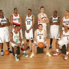 Rondo poses with fellow sophomores Paul Millsap, LaMarcus Aldridge, Rudy Gay, Andrea Bargnani, Ronnie Brewer, Brandon Roy, Jordan Farmar and Daniel Gibson prior to the annual rookie-sophomore game at All-Star weekend. The second-year players would go on to take a 136-109 victory.