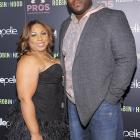 """Most NFL players have been silent on their criticism of Brady's hair, perhaps fearing on the field retribution for their words. Damien Woody (pictured here with his wife, Nicole) couldn't resist a jab at his former teammate. While leaving a charity fundraiser for New York's Pierre Hotel, Woody laughed when a TMZ reporter asked about the QB's coif, """"That long stuff Tom's got. That ain't happening."""""""