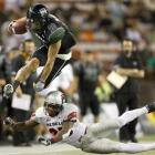 Hawaii blistered the Runnin' Rebels to finish with 10 wins for the sixth time in school history. Quarterback Bryant Moniz passed for 380 yards and four touchdowns and running back Alex Green added 136 yards on the ground and a touchdown of his own.