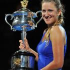 Victoria Azarenka not only won her first major title, but also took over the No. 1 ranking for the first time. The Belarusian throttled Maria Sharapova 6-3, 6-0 to end Caroline Wozniacki's reign atop the WTA. Azarenka, 22, became the fourth straight first-time women's major winner, joining Li Na (French), Petra Kvitova (Wimbledon) and Sam Stosur (U.S.). It's the first time the holders of all four majors are first-time winners.