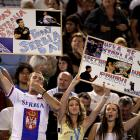 Serbian fans show their support for Djokovic during Thursday's semifinal.