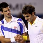 Djokovic and Federer embrace after the 23-year-old Serb's 7-6 (3), 7-5, 6-4 victory.