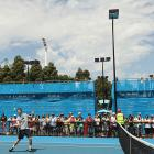 Andy Murray of Great Britain plays a forehand on the practice court during his day off. He faces 32nd-seeded Guillermo Garcia-Lopez on Saturday in the fourth round.
