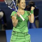 Belgium's Kim Clijsters celebrates her 7-6(3), 6-2 win over Russia's Ekaterina Makarova.