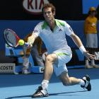 Great Britain's Andy Murray makes a forehand return to Austria's Jurgen Melzer during their fourth-round match. Murray won 6-3, 6-1, 6-1.