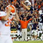 Clemson and Auburn have been playing each other since 1899, but sadly, Clemson hasn't won since 1951. After Auburn kicker Wes Byrum (inset) knocked a 34-yard field goal through the uprights in overtime, the pressure fell on Clemson's redshirt freshman kicker Chandler Catanzaro (left) to match.  Catanzaro hooked his attempt wide left in the 27-24 loss.