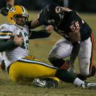 Lance Briggs (4 tackles, 1 sack) played a major role in limiting the high-powered Packers to just two offensive touchdowns. Briggs and teammate Brian Urlacher missed out on becoming the first pair of Bears linebackers to pilot the franchise to two Super Bowls.