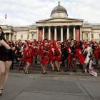 If you didn't know that burlesque is a spectator sport, you obviously haven't been watching the New Jersey Devils lately. Meanwhile, over in Merrie Olde England's famed Trafalgar Square, these fine ladies tried to  break the world record for the world's largest burlesque dance.