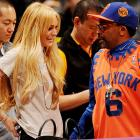 The famed director welcomed the famed jailbird to the Lakers' showdown with the Knicks at Staples Center in Los Angeles.