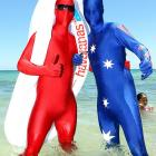 """Meanwhile, over on Cottesloe Beach in Perth,  two cyborgs from the future helped set a world record of 6,810 conjoined inflatable airbeds (apparently """"thong"""" has a different meaning down under) in an effort to raise money for the Queensland Flood Relief Appeal."""
