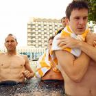 """Players Mark Schwarzer, Luke Wiltshire and Matt McKay chilled out in an ice bath during what was termed """"a recovery session"""" at the Marriott Hotel in Doha, Qatar, on Jan. 26. The lads were in town for the Asian Cup."""