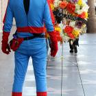 Even Spiderman paused on the Hollywood Walk of Fame to observe the passing of the legendary fitness guru on Jan. 23.
