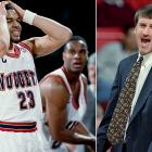 Two years after the Grizzlies set the unenviable mark of 23 straight losses, Denver joined them in infamy. The Nuggets lost 71 games that season, which explains Bryant Stith's, LaPhonso Ellis' and coach Bill Hanzlik's looks of horror.