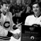 """Reunited after parts of two seasons in Detroit (1967-69), the Mahovlich brothers were major contributors to two of Montreal's Stanley Cup championship teams. Frank, a power forward nicknamed """"The Big M"""", was the bigger star (and a Hall of Famer) who'd won four Cups in Toronto, but he was physically smaller than Pete, who was inspired by his older brother's arrival to score a then-career best 35 goals en route to the 1971 Cup."""