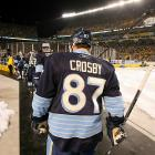 Sidney Crosby, coming off a game in which he saw his 25-game scoring streak snapped, and the Penguins walked onto the ice atop Heinz Field with the game-time temperature hovering around 50 degrees. Throughout the night there were puddles on the ice and occasional periods of precipitation.