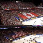 "Both the Canadian and American national anthems were part of pregame festivities. Jackie Evancho, 10, of  America's Got Talent  fame, sang ""The Star-Spangled Banner,"" while the Barenaked Ladies' Steven Page did ""O Canada."""