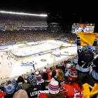 The start time of the 2011 Winter Classic at Heinz Field was pushed back from 1 p.m. to 8 p.m. by rain and warm temperatures in Pittsburgh. It was the second Winter Classic to be played at an NFL stadium (joining Buffalo in 2008), and the first to be played at night.