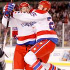 Eric Fehr (left, celebrating with Jason Chimera) scored the Capitals' second goal of the second period, his sixth of the season. Marcus Johansson assisted.