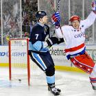 Eric Fehr celebrated after scoring his second goal of the game, an insurance tally with assists from Jason Chimera and John Erskine with 8 mintues left to play in regulation time. In a game full of established stars, Fehr was the unlikely hero.
