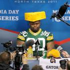 Fine dairy products were obviously on this Packer's mind as he greeted the madding hordes at Super Bowl XLV Media Day in Arlington, TX.