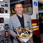 The former QB and current TV personality brought his favorite Super Bowl party snack to the Power Those Who Protect Us campaign launch at the FDNY Fire Zone in New York City.