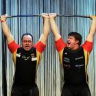 """There's doubles tennis and pairs figure skating, so why shouldn't weightlifting get in on the act? These stout German fellows set a new world record of 330 kilos (not cocaine, silly, the measure of weight) at the Sports Gala """"Ball des Sports"""" in merry old Wiesbaden."""