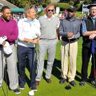 As Anthony Anderson, Michael Bolton, Kevin Costner and Darius Rucker (left to right) contemplated the vicissitudes of a good walk spoiled by a little white ball, Pebble Beach groundskeeper Carl Spackler (far right) got to wondering where that darned gopher be at.   CLICK HERE  for the dramatic final round footage.