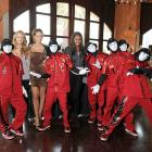 Esti Ginzburg, Izabel Goulart and Damaris Lewis cavorted with the dance crew JabbaWockeeZ, who appear to be the offspring of  the famed guitarist Buckethead , at Diablo's Cantina in Las Vegas.