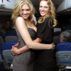 The fetching swimsuit models were rolling in the aisle on the Sports Illustrated Swimsuit 24/7: New York To Las Vegas Air Tran Flight.