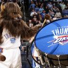 Buffalo Springfield's former drummer, who is now pounding the skins for the band Donna The Buffalo, hammered out a solo during the Thunder's tilt with the LA Clippers at fabulous Oklahoma City Arena.