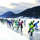 Ice skaters compete in the Alternative Elfstedentocht (Alternative Eleven City Races Weissensee), on Feb. 5.