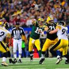 Aaron Rodgers completed 24 of 39 passes, three for touchdowns, en route to earning MVP honors at Super Bowl XLV.