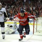 Brooks Laich of the Washington Capitals celebrates after scoring against the Pittsburgh Penguins during a 3-0 victory on Feb. 6 at the Verizon Center in Washington, D.C.