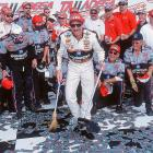 Earnhardt sweeps up after one of his 10 wins at Talladega.