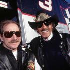 Richard Petty and Dale Earnhardt share a laugh before the Hooters 500.