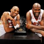 Former Laker teammates Kobe Bryant and Shaquille O'Neal shared the MVP honors after the West's 146-119 victory in Phoenix. Bryant led all scorers with 27 points and four steals, while O'Neal, who made his All-Star return a grand JabbaWockeeZ entrance, added 17 points and five rebounds.