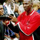 While carrying the East to a 129-118 win with a third-quarter scoring spree, Michael Jordan picked up his second All-Star MVP award with 20 points, four rebounds and one assist in just 22 minutes -- the fewest of any East starter.