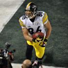 Steelers wide receiver Hines Ward celebrates his eight-yard touchdown catch in the second quarter.