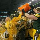 Packers coach Mike McCarthy receives a Gatorade bath after Green Bay wins Super Bowl XLV 31-25 over the Packers.