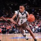 Electric Georgetown guard Allen Iverson drives in a victory over Villanova.