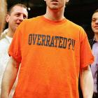 "Gerry McNamara of Syracuse dons an ""Overrated?!!"" shirt after beating Pittsburgh in the Big East Championship on March 11, 2006. McNamara was named MVP of the tourney after a remarkable three-point shooting performance."