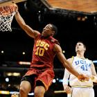 On the bubble for the NCAA tournament, the USC Trojans rode freshman DeMar DeRozan to their first ever Pac-10 title and an automatic berth in the tourney.  DeRozan averaged 21 points and demoralized opponents with his thunderous dunks in the Pac-10 tournament.