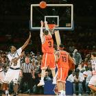 On the bubble for the NCAA tournament, ninth-ranked Syracuse needed to win the Big East tournament to secure a bid.  And Gerry McNamara made sure the Orange did.  He hit a three-pointer with 0.5 seconds left to beat Cincinnati in the opener; made a three-pointer with 5.6 seconds left to force overtime against Connecticut in the second round, and then hit two free throws in overtime to ice Syracuse's 86-84 victory. He assisted on the game-winning basket against Georgetown in the semifinals; and his three-pointer in the championship game against Pittsburgh put the Orange up for good in a 65-61 victory.  McNamara was named tournament MVP and set a tournament record with 16 three-pointers.