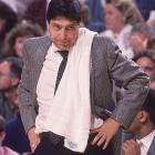 Legendary N.C. State coach Jim Valvano, who was twice named ACC Coach of the Year during his decade-long tenure with the Wolfpack, fumes on the sideline during a game against North Carolina.
