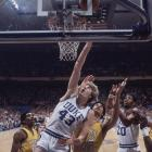 Duke's Mike Gminski battles Wake Forest defenders during the finals of the 1978 tournament. The Blue Devils won 85-77.