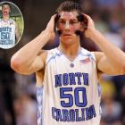 Tyler Hansbrough, who was bloodied a week earlier in the regular season finale against Duke, straps on his mask for a game against Boston College. Psycho T led the Tar Heels to a championship in the tournament, the 15th total for the school.