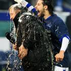Speaking of heads, Olcay Sahan of MSV Duisburg auditioned for a part in a Butz Beer commercial ( CLICK HERE to watch ) by dumping a DFB cup of suds on head coach Milan Sasic after their triumphant semifinal soccer match with Energie Cottbus at Schauinsland-Reisen-Arena in fabulous Duisburg, Germany.