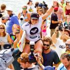 The Hawaiian surfin' bird was carried away by unbridled enthusiasm after she won the ASP Roxy Pro Gold Coast in Australia.