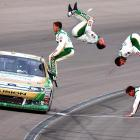 Like proverbial clowns from a Volkswagen, the noted NASCAR jockey and his doppelgangers gleefully exited their vehicle after winning the Kobalt Tools 400 at Las Vegas Motor Speedway.