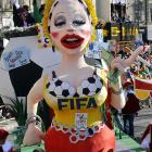 Editorial commentary on FIFA's character, or lack thereof, courtesy of a float at the traditional procession in Cologne, Germany on March 7.
